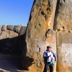The biggest stone in the Park with Fernando our guide in front