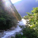 The fast flowing river below the Inkaterra Hotel