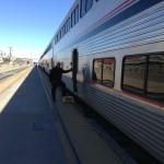 Geoff boarding train