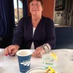 Christine enjoying a cup of tea
