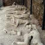 Plaster casts of some residents, where and as they fell