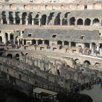 Inside colosseum looking under the stage