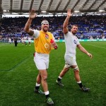 James Haskell and Chris Robshaw applaud the crowed after the match
