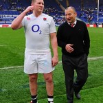 Head Coach Eddie Jones talks with Dylan Hartley Captain after the win against Italy.  9 - 40 to England