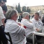 A few England Fans Enjoying a few beers in Piazza del Popolo