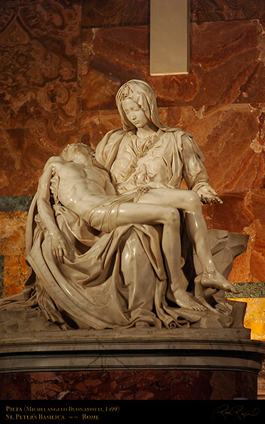 Michelangelo's Sculpture of The body of Jesus in Mary's arms.  (created by Michelangelo when he was only 23.)