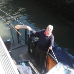 Geoff holding boat whilst I worked the locks