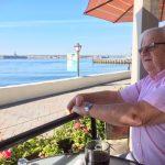 Having coffee overlooking the bay