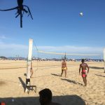 30 degrees of heat, playing volleyball, very impressive.
