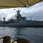 Dutch navy in town, bridge opened to let them through.