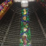 Lots of stained glass strips, joining the cross at the top, quite impressive