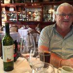 Geoff having had his steak and drunk the wine, happy bunny, too many salads!