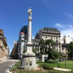 Plaza Lavalle, there's a monument to someone or something on every corner