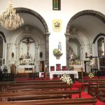 Inside of the blue and white church