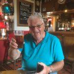 Enjoying his pint
