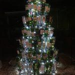 Xmas tree in wine bottles